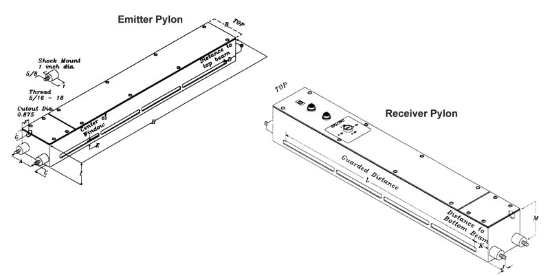 Model PPG Safety Light Curtain Emitter and Receiver Dimensions
